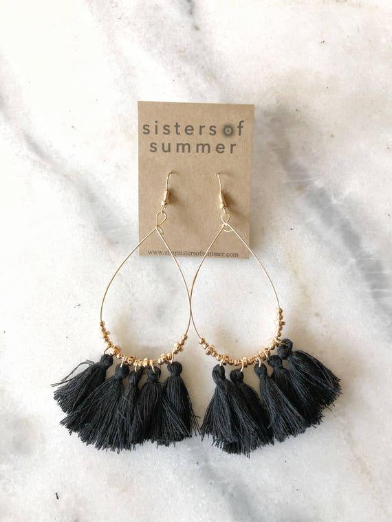 Tassel Fringe Drop Earrings Black or Peach