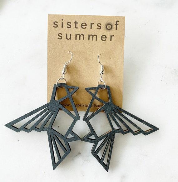 Geometric Bird Laser Cut Wood Earrings