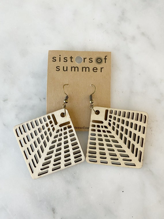 Geometric Perforated Diamond Natural Wood Earring
