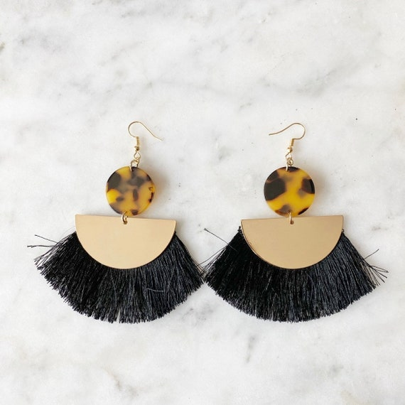 Statement Tortoise Shell Gold Black Fringe Earrings