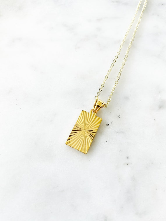 Gold-Filled Starburst Rectangle Charm Pendant Necklace