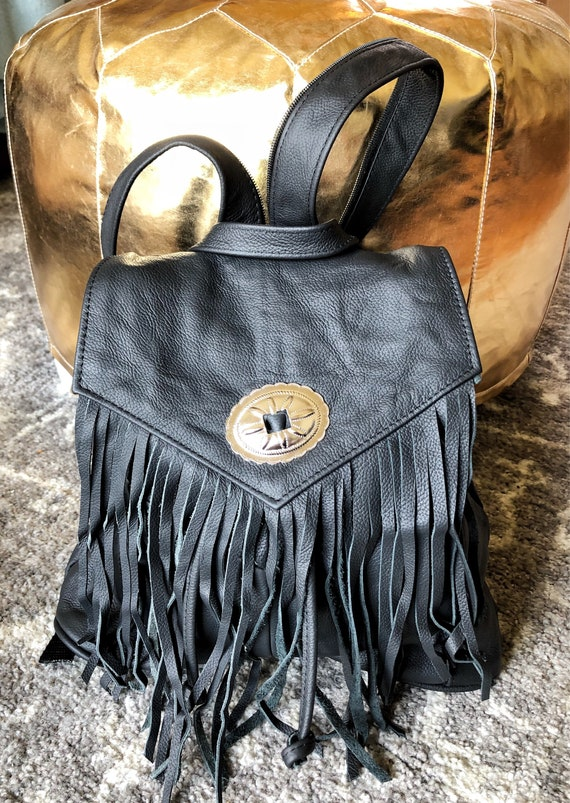 Genuine Black Leather Fringe Purse Backpack Festival Bag