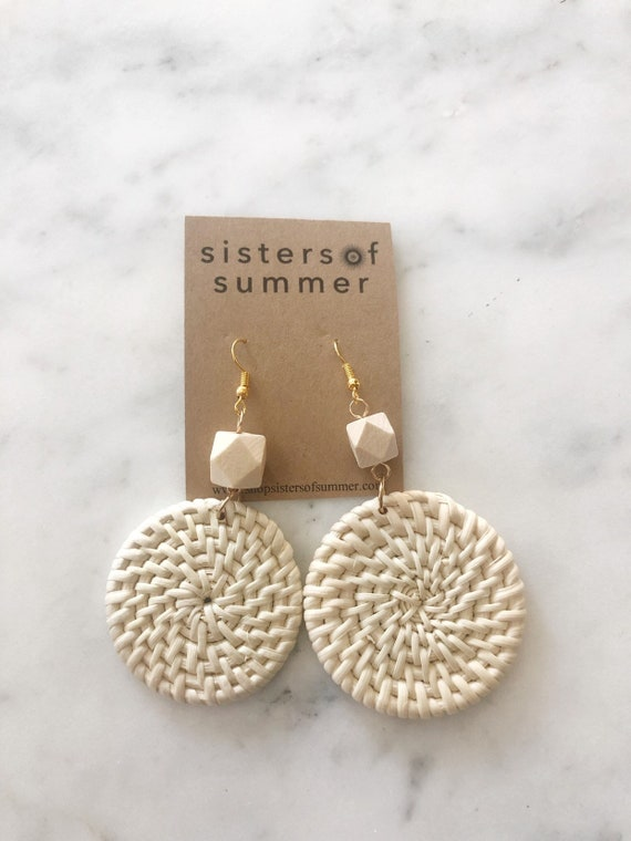Rattan Weave Circle Wood Bead Earrings Wicker