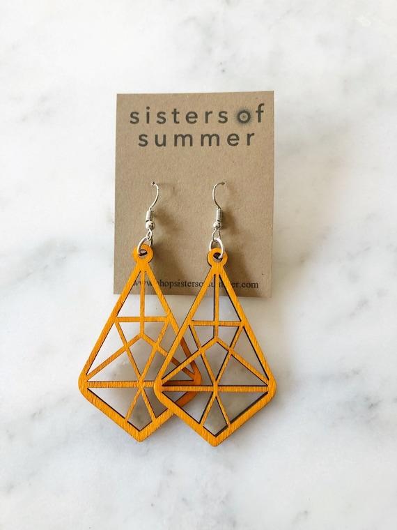 Geometric Diamond Laser Cut Wood Earrings