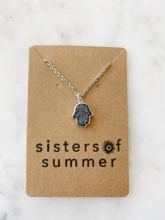 Hamsa Druzy Necklace on Goldfilled oR Steel Chain