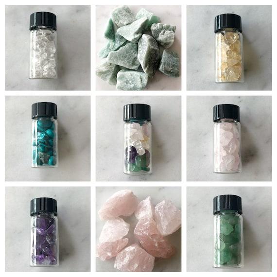 Crystals to Go Amethyst Rose Quartz Citrine Aventurine Turquoise Vial of Crystals