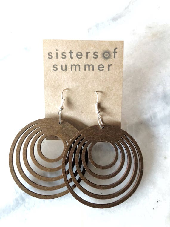 Geometric Circle Laser Cut Wood Earrings