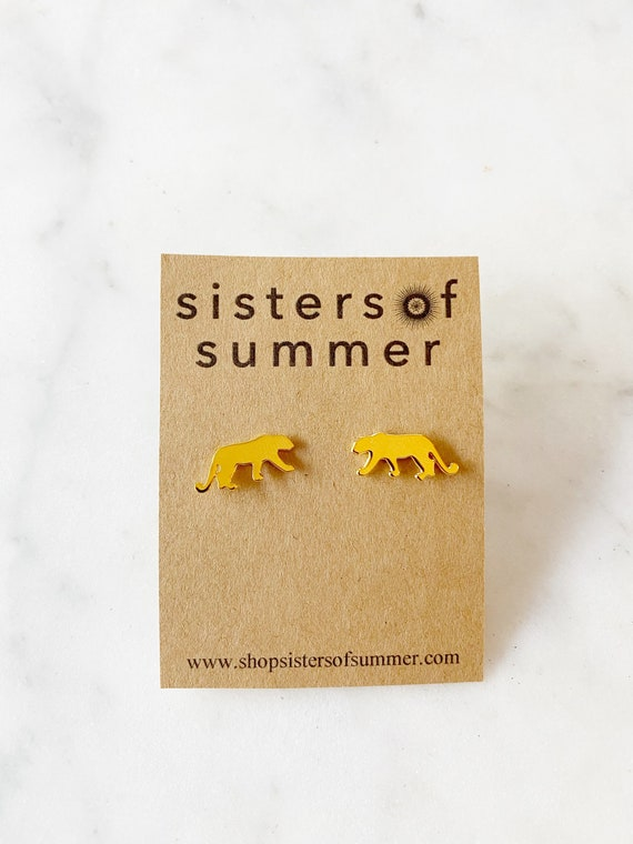 Gold or Silver Jaguar Panther Cat Square Stud Earrings