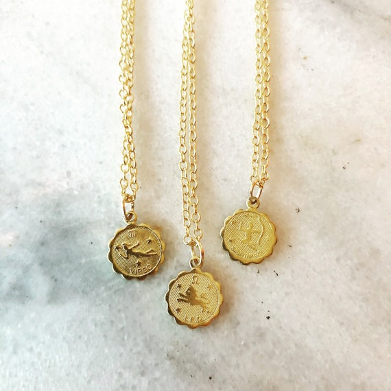 Horoscope Zodiac Disc Necklace Leo Virgo Capricorn Cancer Aries Sagittarius Gemini Pisces Aquarius