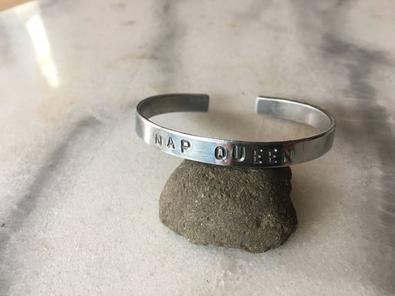 Nap Queen Stamped Metal Cuff Bracelet