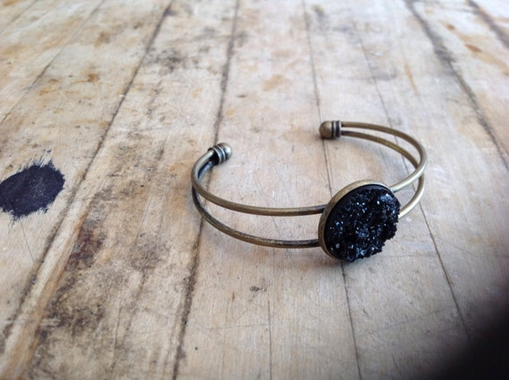 Black or Silver Druzy Disc Cuff Bracelet