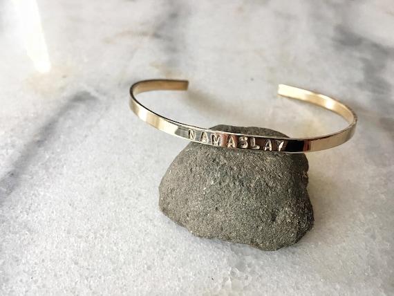 CUSTOM KCP Namaslay Stamped Metal Cuff Bracelet