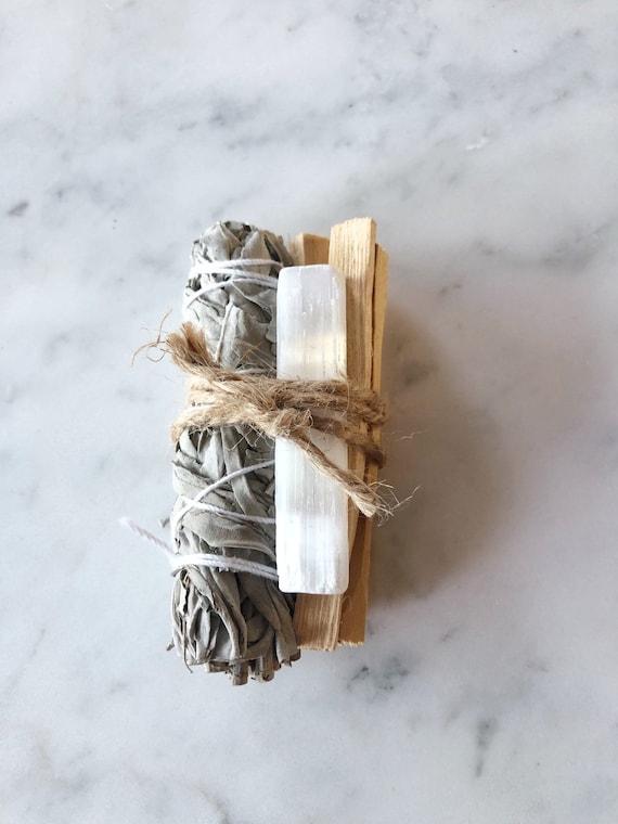 Selenite Smudge Kit White Sage Palo Santo Stick Home Cleansing Crystal Cleansing Spiritual Cleansing