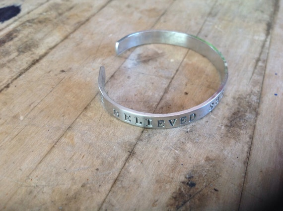 She Believed She Could So She Did Metal Stamped Cuff Bracelet