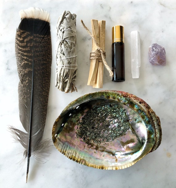 Full Smudge Kit Abalone Shell White Sage Palo Santo Crystal Essential Oil Feather Cleansing Kit