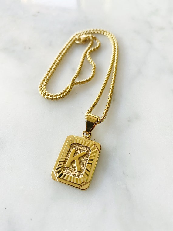 Gold Block Initial Necklace Custom