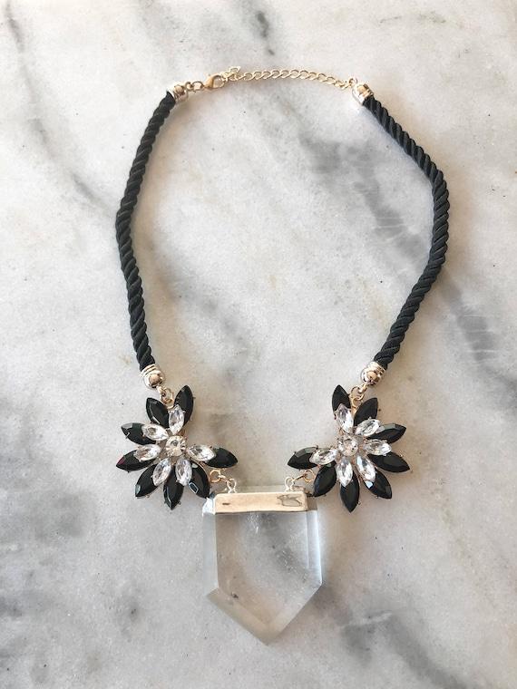 Quartz Crystal and Rhinestone Statement Necklace