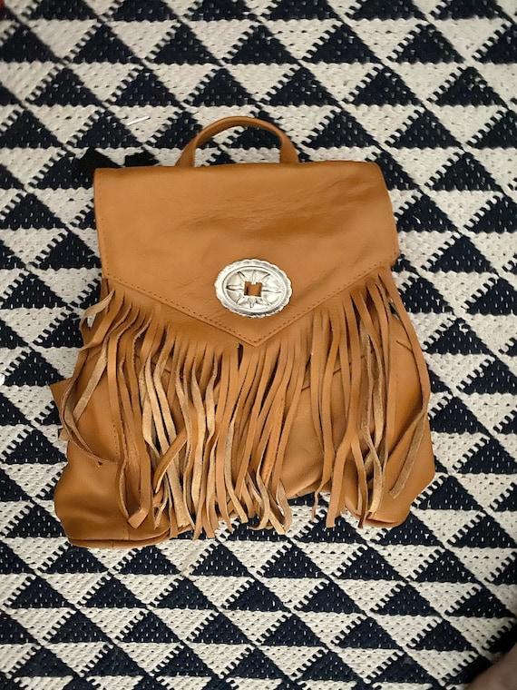 Genuine Black Leather Fringe Purse Backpack Festival Bag