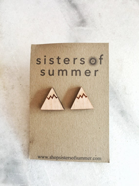 Wooden Mountain Stud Earrings
