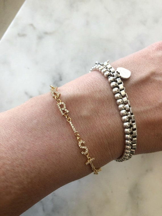 Custom Name Rhinestone Bracelet Goldfilled Chain