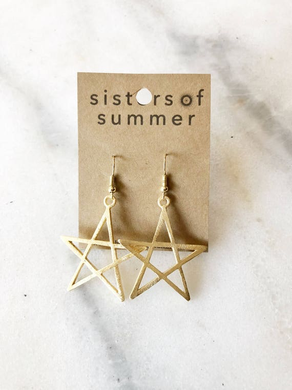 14K Gold Star Shaped Drop Earrings