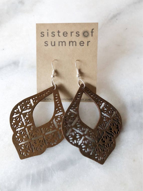 Geometric Arabesque Laser Cut Wood Earrings