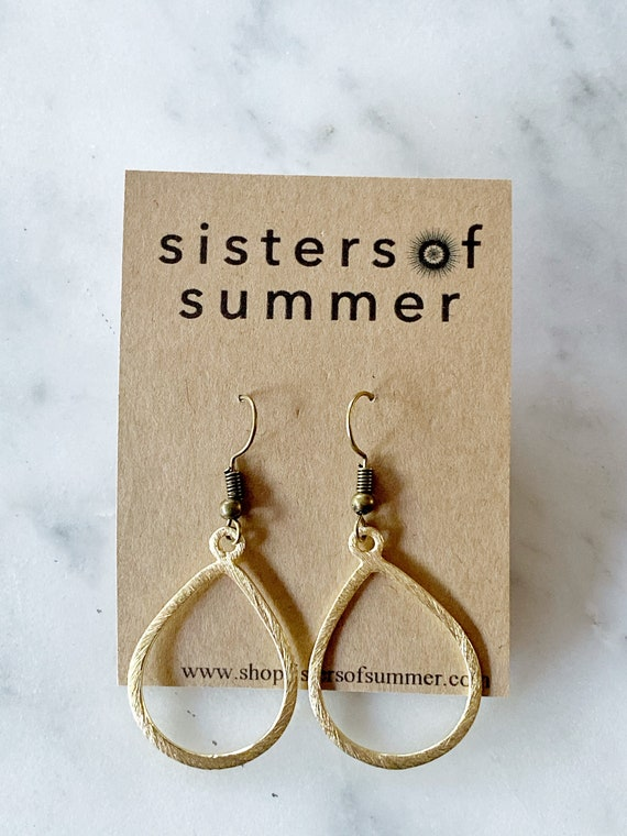Gold Teardrop Shaped Earrings