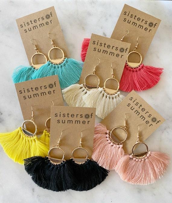 Gold Tassel Fringe Hoop Earrings