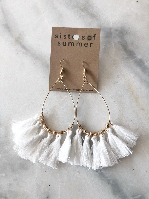 Tassel Fringe Drop Earrings White Teardrop
