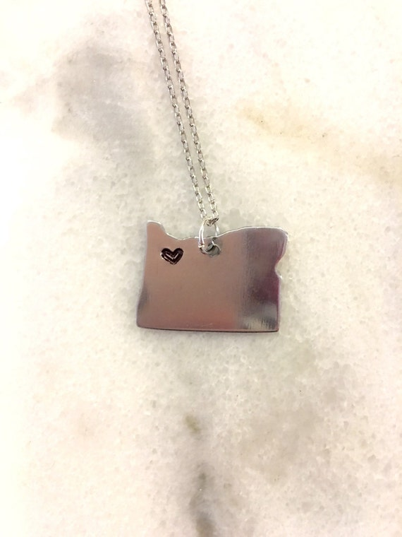 Customizable State of Your Choice Love Necklace with Custom Heart New York California Texas Nevada Washington Florida