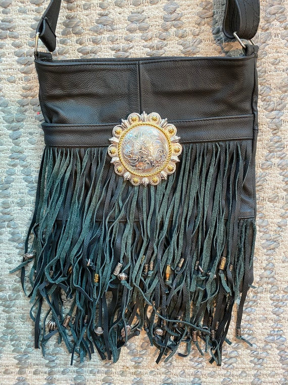 Genuine Black Leather Fringe and  ead Purse Bag Crossbody
