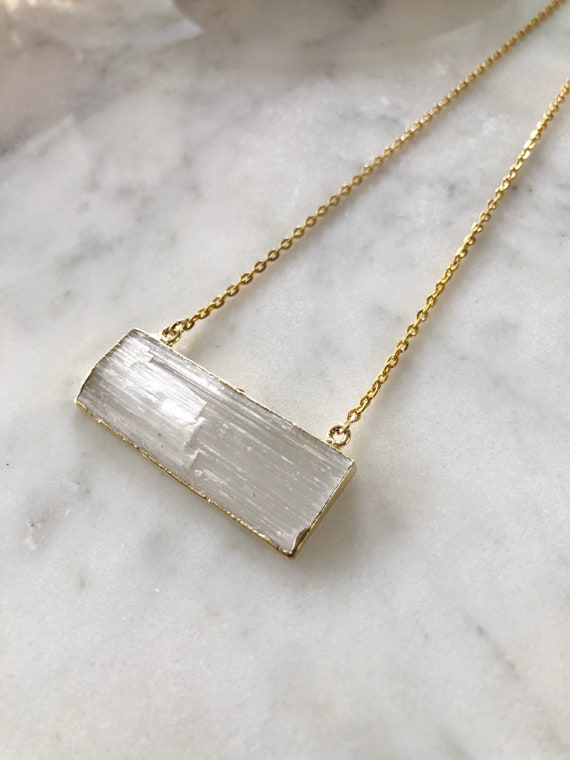14K Gold Plated Horizontal Selenite Stick Necklace