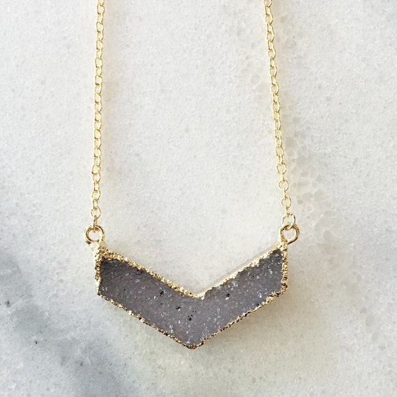 14K Gold Druzy Chevron Necklace