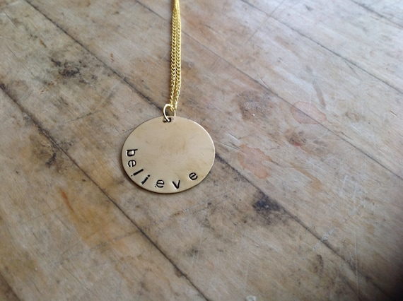 Believe Hand Stamped Brass Plate Necklace