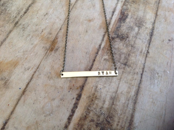Custom Name or Initials Rectangle Bar Hand Stamped Necklace