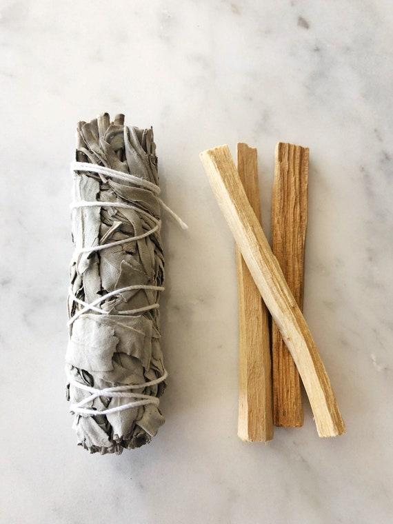 Basic Smudge Kit White Sage Palo Santo Stick Home Cleansing Crystal Cleansing Spiritual Cleansing