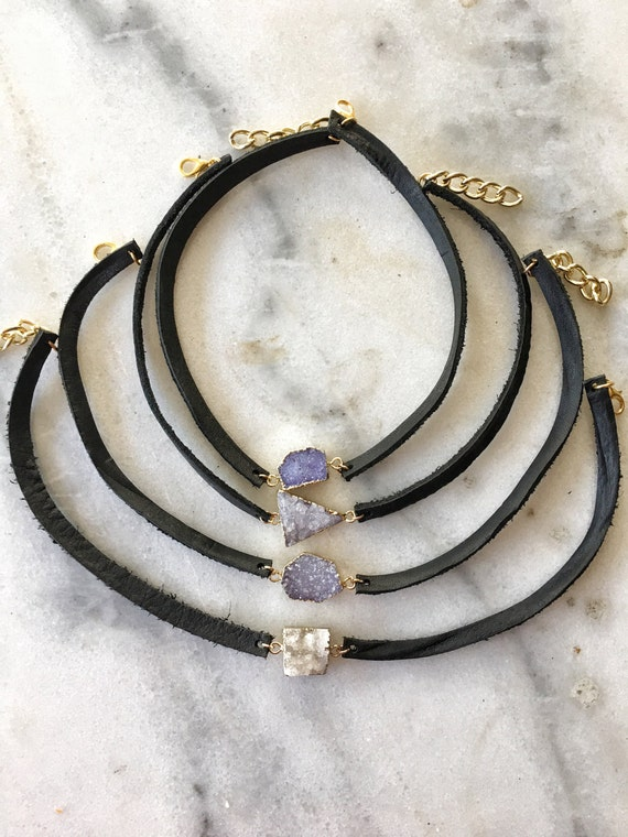 14K Gold Plated Amethyst Druzy Leather Choker
