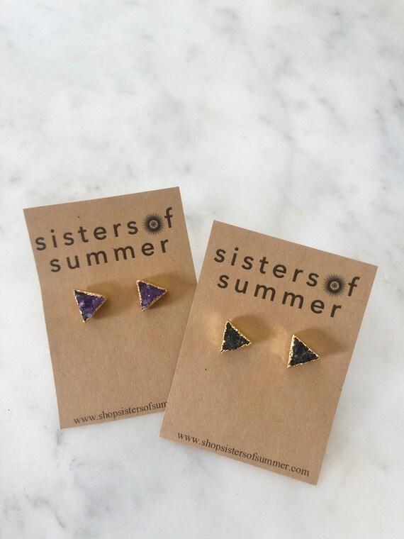 14K Gold Druzy Triangle Stud Earrings