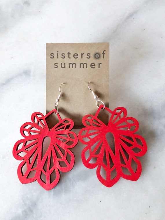 Geometric Flower Laser Cut Wood Earrings