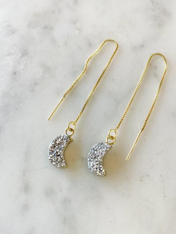 Druzy Moon Box Chain Threader Earrings Silver or White Moon