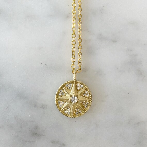 Compass Pendant with Crystal Necklace