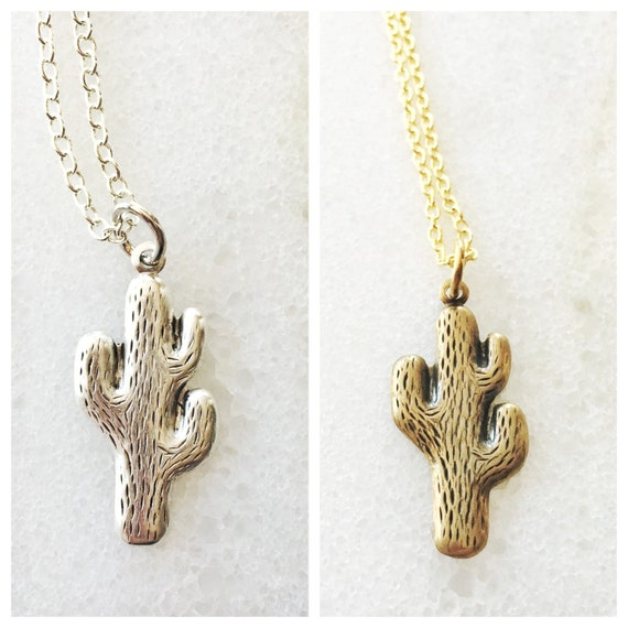 Silver or Gold Cactus Charm Necklace