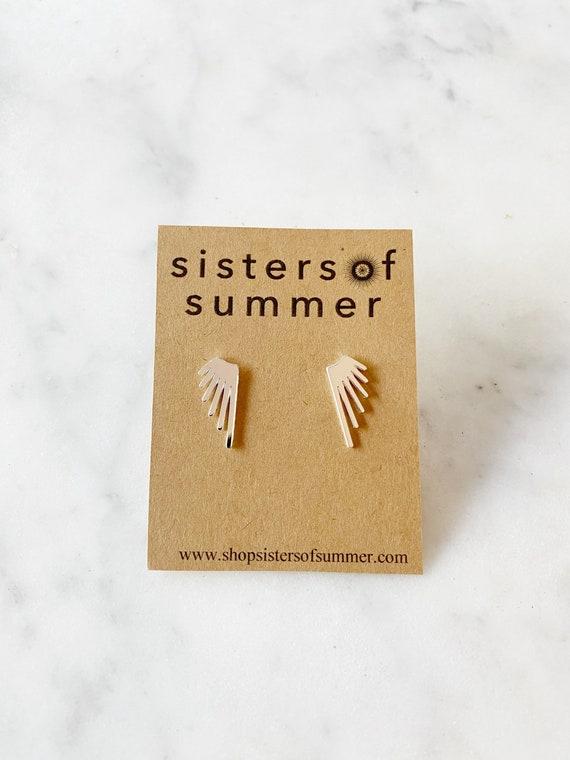 Winged Fringe Stud Earrings