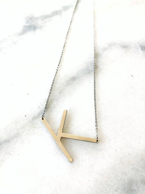 Alphabet Custom Letter Initial Necklace Gold or Silver