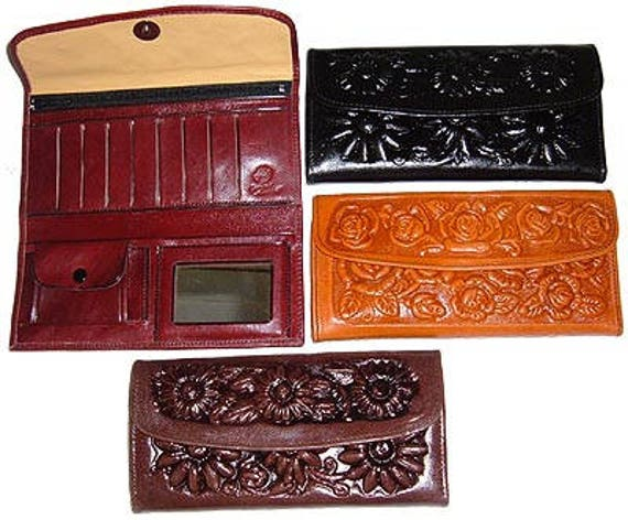 Tooled Leather Wallet Billfold Snap Wallet