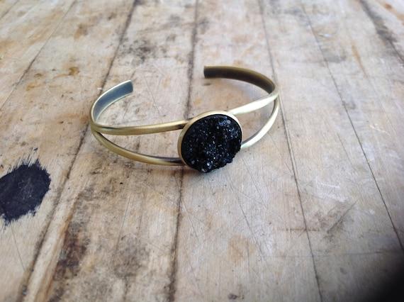 Black or Silver Druzy Cuff Bracelet
