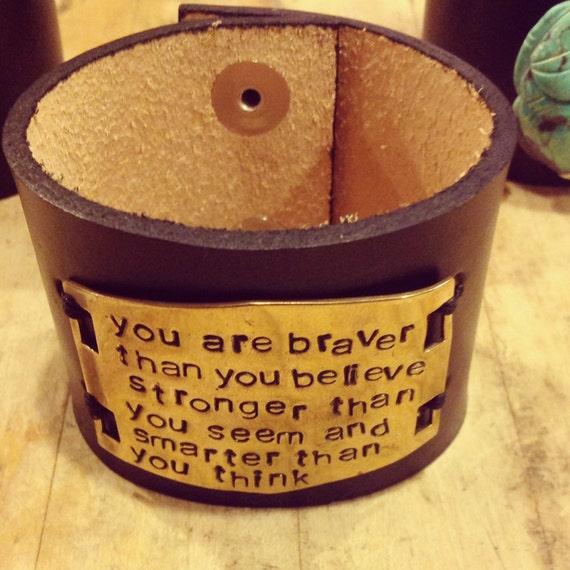 You are Braver than you Believe Quote Hand Stamped Metal Leather Cuff Bracelet Winnie the Pooh