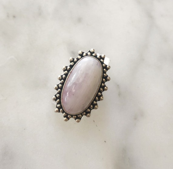 Pink Moonstone Sterling Silver Teardrop Statement Ring