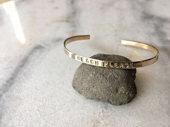 Beach Please Stamped Metal Cuff Bracelet