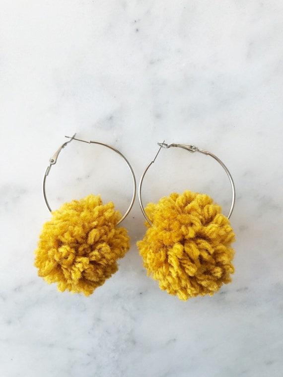 Pom Pom Hoop Earrings